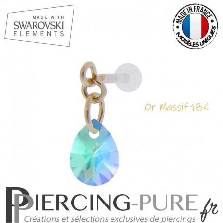 Piercing oreille or massif et Swarovski element poire Crystal Paradise Shine
