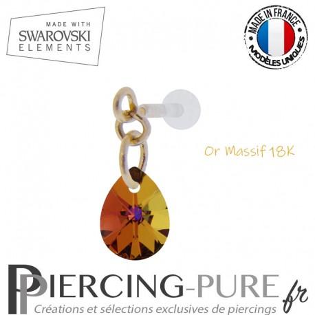Piercing oreille or massif et Swarovski element poire Crystal Volcano