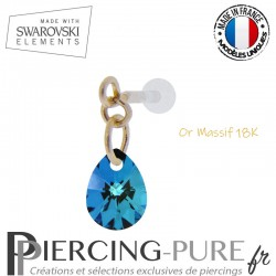 Piercing oreille or massif et Swarovski element poire Crystal Bermuda Blue