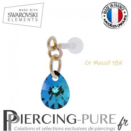 Piercing oreille or massif et Swarovski element poire Crystal Bermuda Blue