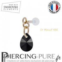 Piercing oreille or massif et Swarovski element poire Jet