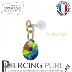 Piercing oreille or massif et Swarovski element poire Crystal Vitrail Medium