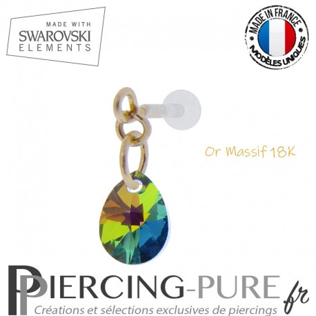 Piercing oreille or massif et Swarovski element poire Crystal Vitrail Medium