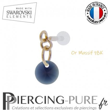 Piercing oreille or massif et Swarovski element Rivoli 6mm Dark Indigo