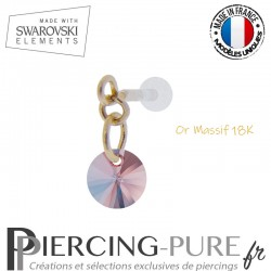 Piercing oreille or massif et Swarovski element Rivoli 6mm Rose Peach Shimmer