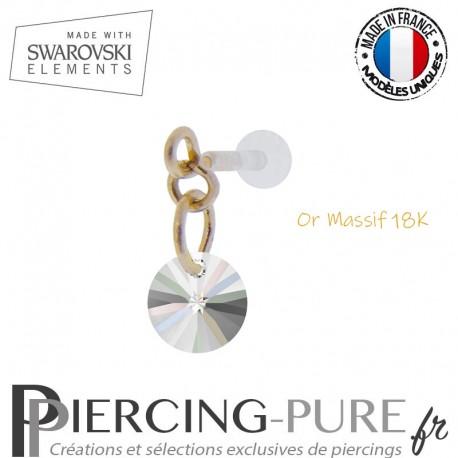 Piercing oreille or massif et Swarovski element Rivoli 6mm Crystal AB