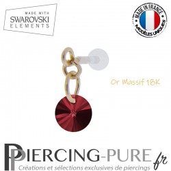 Piercing oreille or massif et Swarovski element Rivoli 6mm Scarlet