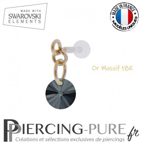 Piercing oreille or massif et Swarovski element Rivoli 6mm Graphite