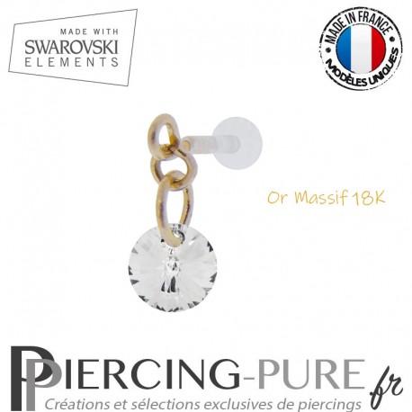 Piercing oreille or massif et Swarovski element Rivoli 6mm Crystal Silver Night