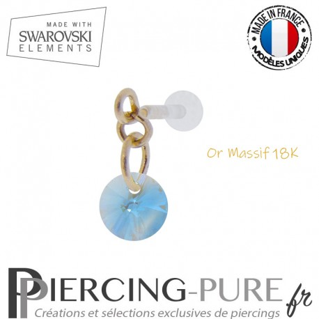 Piercing oreille or massif et Swarovski element Rivoli 6mm Aquamarine Shimmer