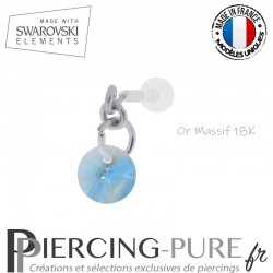 Piercing oreille or massif blanc et Swarovski element Rivoli 6mm Aquamarine Shimmer