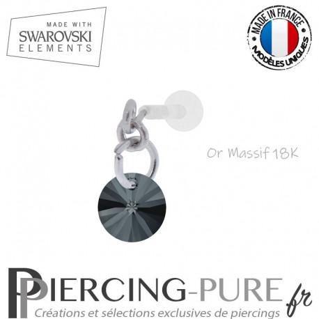 Piercing oreille or massif blanc et Swarovski element Rivoli 6mm Graphite