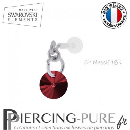 Piercing oreille or massif blanc et Swarovski element Rivoli 6mm Scarlet