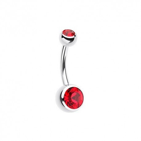 Piercing Nombril discret deux Cristaux rouges