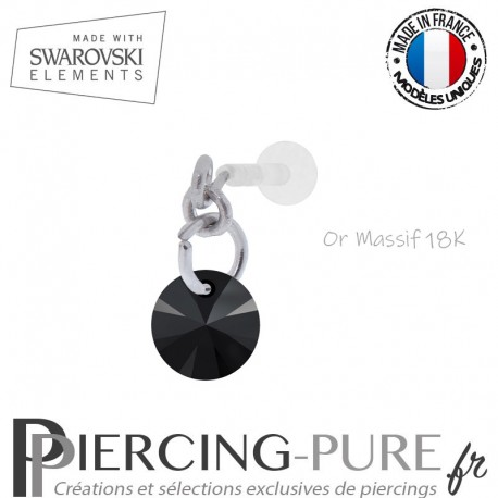 Piercing oreille or massif blanc et Swarovski element Rivoli 6mm Jet