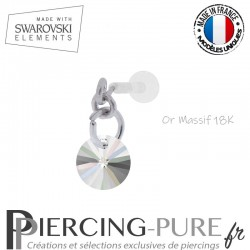Piercing oreille or massif blanc et Swarovski element Rivoli 6mm Crystal AB