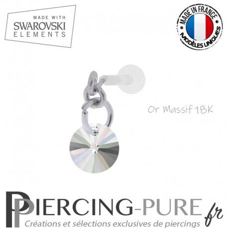Piercing oreille or massif blanc et Swarovski element Rivoli 6mm Crystal AB