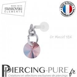 Piercing oreille or massif blanc et Swarovski element Rivoli 6mm Rose Peach Shimmer