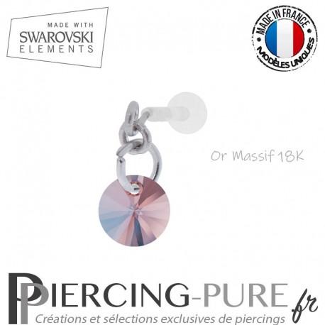 Piercing oreille or massif blanc et Swarovski element Rivoli 6mm Rose Peach Shimmer