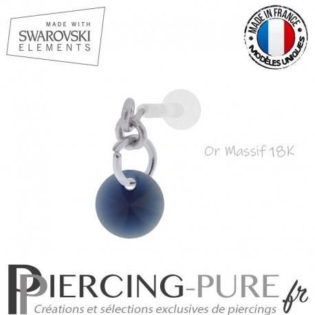 Piercing oreille or massif blanc et Swarovski element Rivoli 6mm Dark Indigo