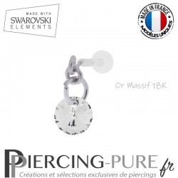 Piercing oreille or massif blanc et Swarovski element Rivoli 6mm Crystal Silver Night