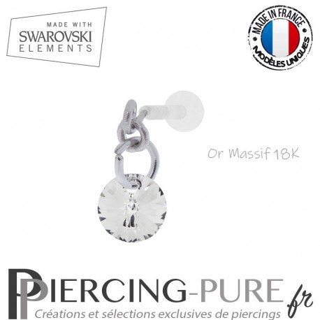Piercing oreille or massif blanc et Swarovski element Rivoli 6mm Crystal Silver Night