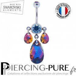 Piercing Nombril Swarovski Elements Poires Crystal Volcano