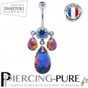 Piercing Nombril Swarovski Elements Poires Crystal Volcano