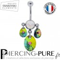Piercing Nombril Swarovski Elements Poires et oval Crystal Vitrail Medium