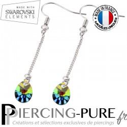 Boucles d'Oreilles Pendentif Swarovski Element Poire Crystal Vitrail Medium - La paire