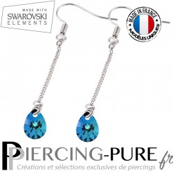 Boucles d'Oreilles Pendentif Swarovski Element Poire Crystal Bermuda Blue - La paire