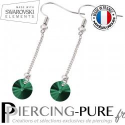 Boucles d'Oreilles Pendentif Swarovski Element Crystal Emerald - La paire