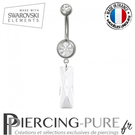 Piercing Nombril Acier Queen Baguette Swarovski Elements Crystal