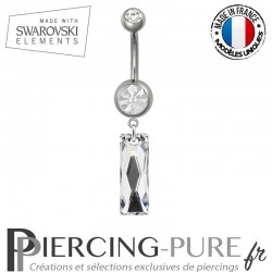 Piercing Nombril Acier Queen Baguette Swarovski Elements Crystal Comet Argent Light