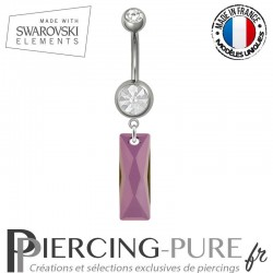 Piercing Nombril Acier Queen Baguette Swarovski Elements Crystal Lilac Shadow