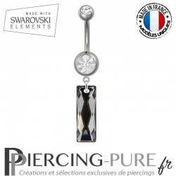 Piercing Nombril Acier Queen Baguette Swarovski Elements Crystal Silver night