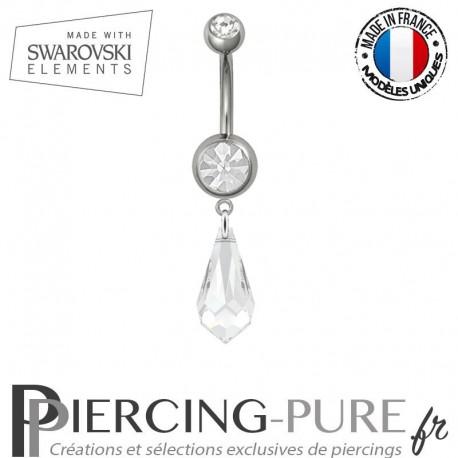 Piercing Nombril Acier Larme Swarovski Elements Crystal