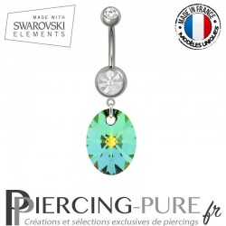 Piercing Nombril Acier Oval Swarovski Elements Crystal Vitrail Medium