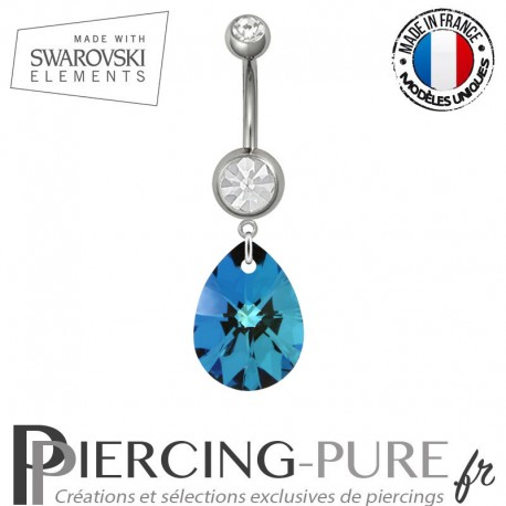Piercing Nombril Acier Goutte Swarovski Elements Bermuda Blue