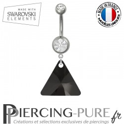Piercing Nombril Acier Triangle Swarovski Elements Jet