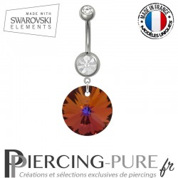 Piercing Nombril Acier Rivoli Swarovski Elements Crystal Volcano