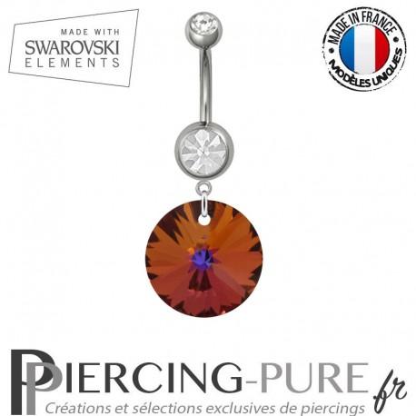 Piercing Nombril Acier Rivoli Swarovski Elements Crystal Volcano