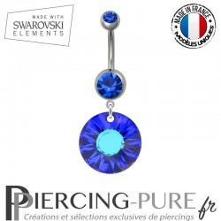 Piercing Nombril Acier Soleil Swarovski Elements Crystal Bermuda Blue