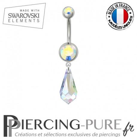 Piercing Nombril Acier Larme Swarovski Elements Crystal AB