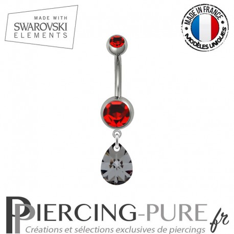 Piercing Nombril Acier mini goutte Swarovski Elements Crystal Silver Night