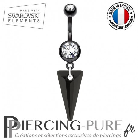 Piercing Nombril Blackline Spike Swarovski Elements Crystal Jet