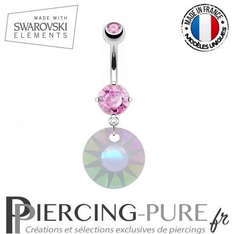 Piercing Nombril Soleil Swarovski Elements Crystal Paradise Sunshine givré