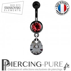 Piercing Nombril Blackline Goutte Swarovski Elements Crystal Silver night
