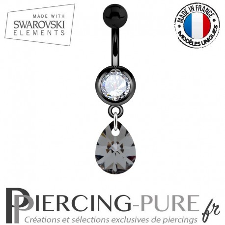 Piercing Nombril Blackline Cristal blanc Goutte Swarovski Elements Crystal Silver night