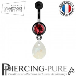 Piercing Nombril Blackline Cristal Rouge Goutte Swarovski Elements Crystal Blue AB